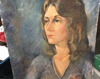 Vintage Mid Century Oil Portrait Painting--Woman Wrapped Dress 60s Style Sunday Artist Wood Panel Painting Primitive Wall Art