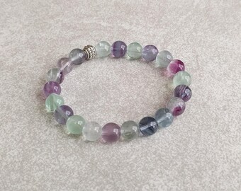 Rainbow Fluorite Bracelet - Meditation Bracelet - Mala Bracelet - Spiritual Bracelet - Protection Bracelet - Item #372