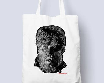 The Wolfman Tote bag for all those horror occasions (horror,monster tote bag,gift for him,gift for her,werewolf)