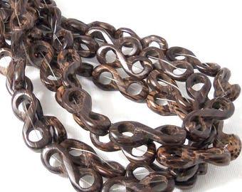 Patikan Wood Link Bead, Infinity Symbol, Natural Wood Bead, 10mm x 28mm, Large, 16 Inch Strand - ID 2348