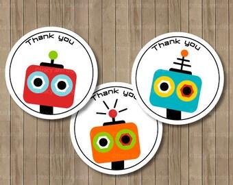 Robot Party Thank you Circles or Thanks a Bot Printable 2 inch Party Circles
