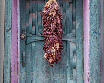Chili - Chili Peppers - Ristra - Turquoise Door - Door - Colorful Doorway - New Mexico - Welcome - Fine Art Photography