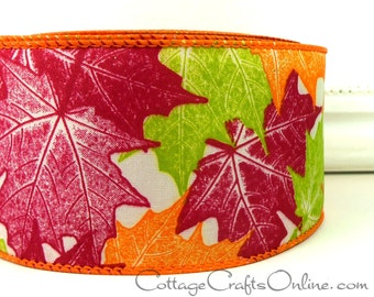 "Fall Wired Ribbon, 2 1/2"" wide, Orange, Cranberry, Green Maple Leaf Pattern - THREE YARDS - Offray ""September"" Autumn Wire Edged Ribbon"