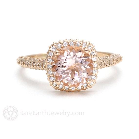 Morganite Engagement Ring 18K Rose Gold Diamond Halo Morganite