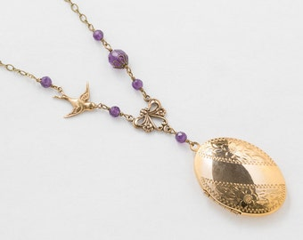 Antique Locket Necklace, Flower & Leaf Engraved Locket, Gold Filled Locket with Genuine Amethyst and Bird Charm, Vintage Jewelry Womens Gift