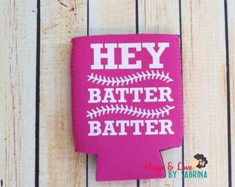 Baseball Hey Batter Can Cooler