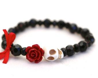 Ready to Ship SALE! Halloween Skull Beaded Elastic Bracelet, Red, Black