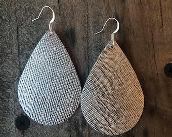 Silver Saffiano Teardrop Leather Earrings.
