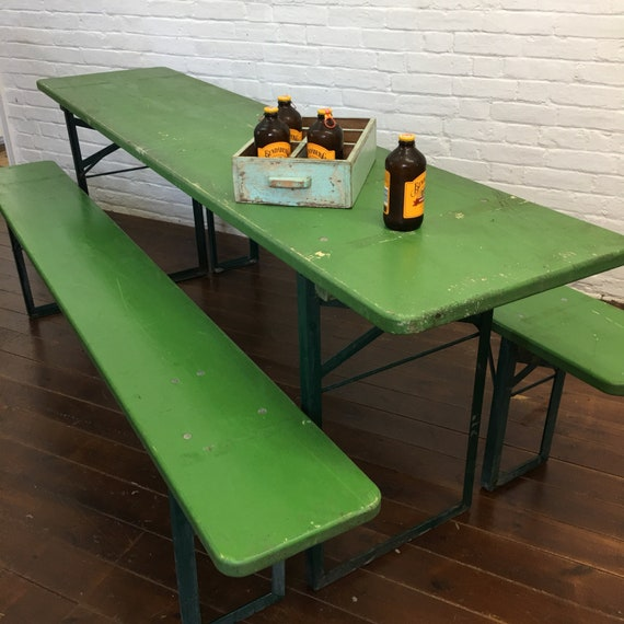 Vintage German Beer Hall Garden Table Bench Set