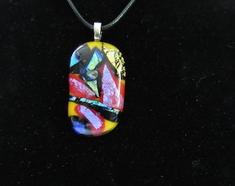 Free Shipping; Abstract Dichroic Pendant; Dichroic Necklace; Dichroic Jewelry; Fused Glass Jewelry; Fused Glass Dichroic Necklace/PDA833