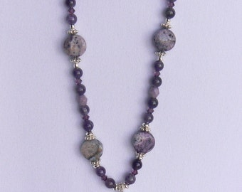 Amethyst and Rhodonite pendant necklace.