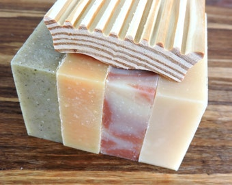 BULK SOAP - Any 4 Bars of All Natural Yamali soap and 1 Wood Soap Dish - Bulk soap, shampoo bars
