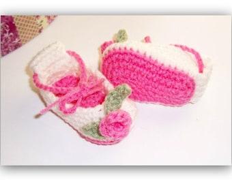 Crochet Pattern Rosebud Ballerina Booties  0-3 mos. Size