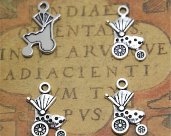 40pcs baby Stroller Charms silver tone baby carriage charm pendant 19x13mm AD2074