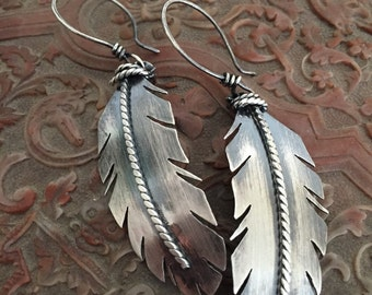 Handmade Sterling Silver Feather Earrings