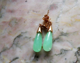Jade Dangle Earrings, Pierced.