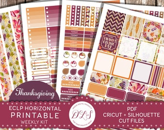 Erin Condren HORIZONTAL Planner Stickers Weekly Kit Thanksgiving Planner Printable Stickers Fall Pumpkin Leaves Grapes Purple Brown HS115