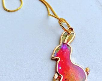 Rainbow Bunny Rabbit Resin Cast Pendant, Goldtone Necklace