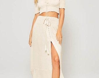 Trendy Women's Smocked Crop Top Maxi Skirt Set | Women's Fashion, Women's Clothing, Ladies Clothing