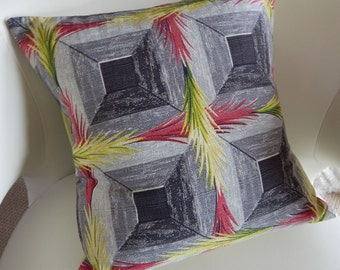 """Tropical Barkcloth Pillow Cover """"Sizzle"""" 1940's South Beach Chartruse & Charcoal"""