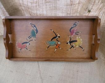Superb vintage wooden tray depicting African figures