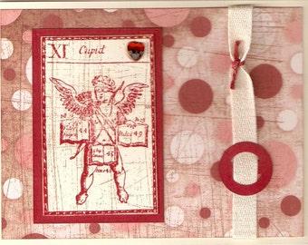 Hand Stamped Vintage Looking Valentine Card