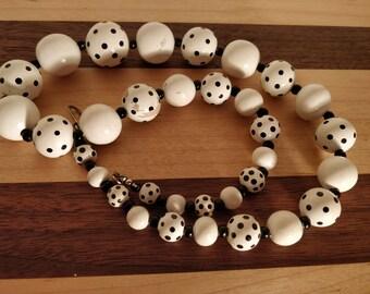 Shabby chic black and white polka dot necklace