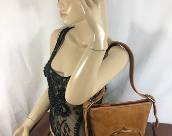 60s BONNIE CASHIN For Meyers Authentic Tan Suede Leather and Tan Leather Trim Bucket Shoulder Bag