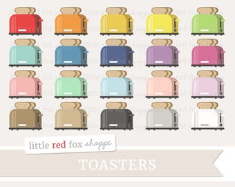 Toaster Clipart, Breakfast Clip Art, Kitchen Clipart, Appliance Clipart, Toast Clipart, Cute Digital Graphic Design Small Commercial Use