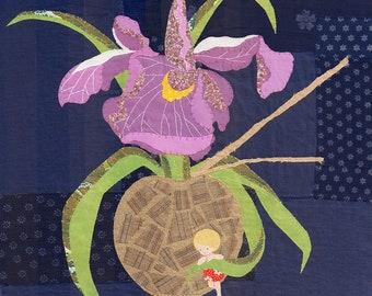 """Ikebana"", original textile artwork hand stitched"