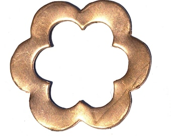 Copper Flower 34mm Flower with Flower Center Cutout for Blanks Enameling Stamping Texturing 4 Pieces