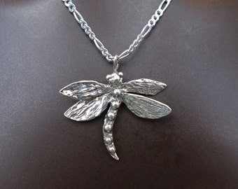 Frivolous Sterling Dragonfly Pendant /Add Silver Figaro Chain Option/
