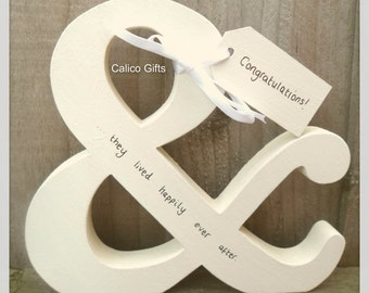 engagement gift and they lived happily ever after wedding gift special couple engagement letters & congratulations gift wooden letter