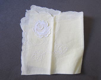 Vintage 1950's Rose Embroidered Handkerchief