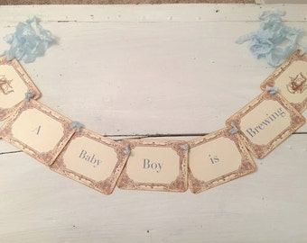 Baby Shower Tea Party Banner A Baby Boy is Brewing Decoration Decor