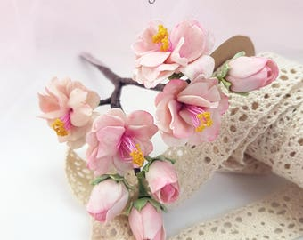 Wedding accessory for hair - cold porcelain cherry blossom branch - modeled and painted by hand.