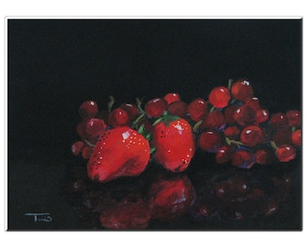 """Strawberries and Grapes  5"""" x 7"""" Original Still Life Painting on Ampersand Gessobord by Torrie Smiley"""