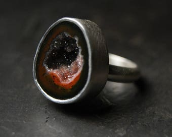 Black and Orange Geode Druzy Ring in Sterling Silver - CUSTOM MADE