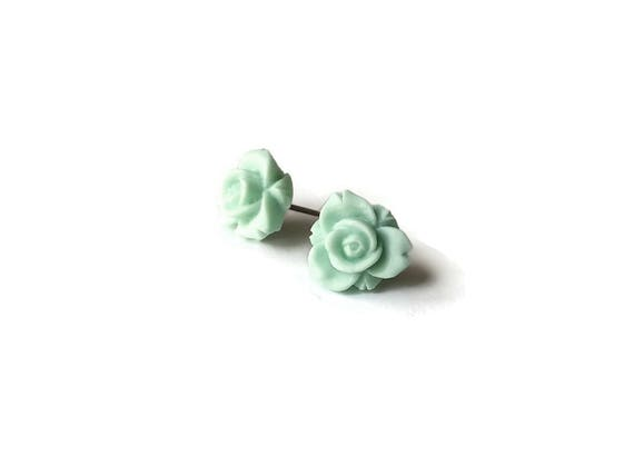 Aqua Rose flower stud earrings - Hypoallergenic pure titanium and resin
