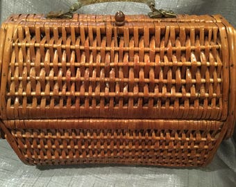 Vintage 1950's -60's wood  and cane basket purse