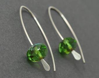 Green Earrings, Green Hoops, Sterling Silver Hoops, Czech Glass