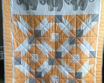 Modern Elephant Applique Quilt