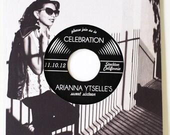 Vinyl Record Invitation for : Birthday, Quinceañera, Bar Mitzvah, or Sweet 16