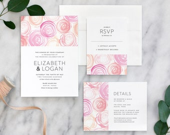 Watercolor Rose Wedding Invitation, Modern Rose Wedding Invitation - Deposit Payment