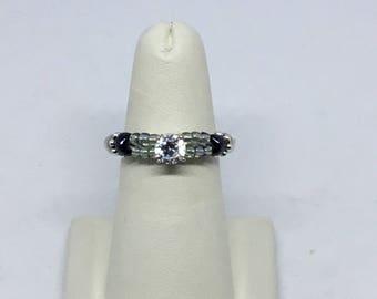 Brilliant Monochrome Silver and Black Ring – Sensational Sparkle and Elegance – Sleek, Slim Profile