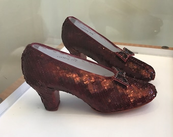 Hand Sewn Ruby Red Slippers, All Custom Made Components, Aged Translucent Version - Approximately 3 month creation time
