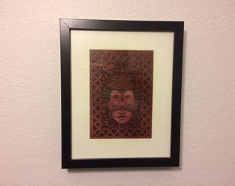 Framed Asian Princess On Veneer