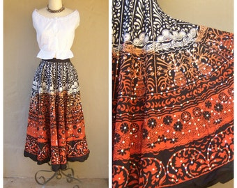 Gypsy circle skirt / SEQUINS / Mexican folk style skirt, cotton India skirt / ombre orange black batik maxi skirt / small xs 26 waist