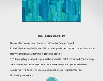 Large abstract canvas wall art, Teal navy turquoise aqua blue green