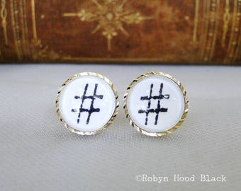 Hashtag earrings - Stamped Letterpress Hashtag / Numeral Symbol in Vintage Goldtone Posts